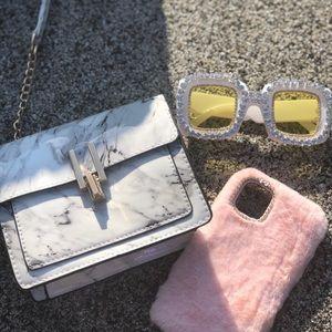 Handbags - Marble Print Gold Chain Cross Body Purse Hand Bag
